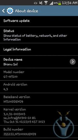 galaxy note 2 android 4.3 güncellemesi