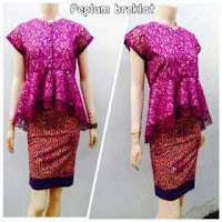 Baju kebaya Broklat motif batik ungu