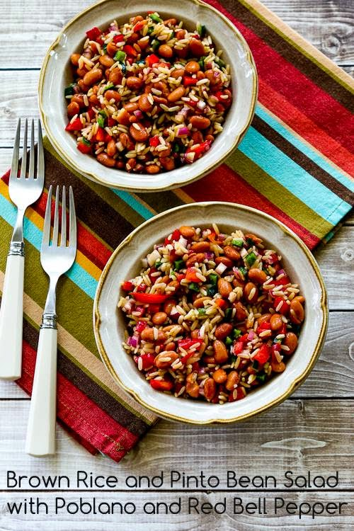 Brown Rice and Pinto Bean Salad with Poblano and Red Bell Pepper found on KalynsKitchen.com