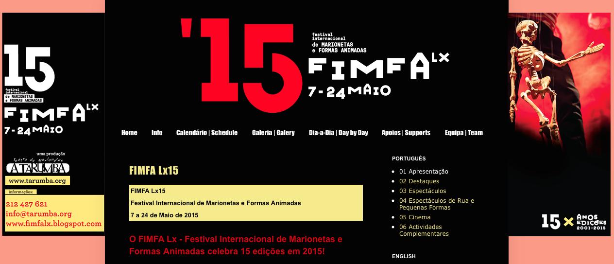 FIMFA Lx15 - Festival Internacional de Marionetas e Formas Animadas