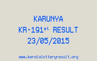 Karunya KR 191 Lottery Result 23-5-2015
