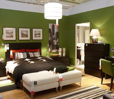 habitación matrimonial paredes verdes