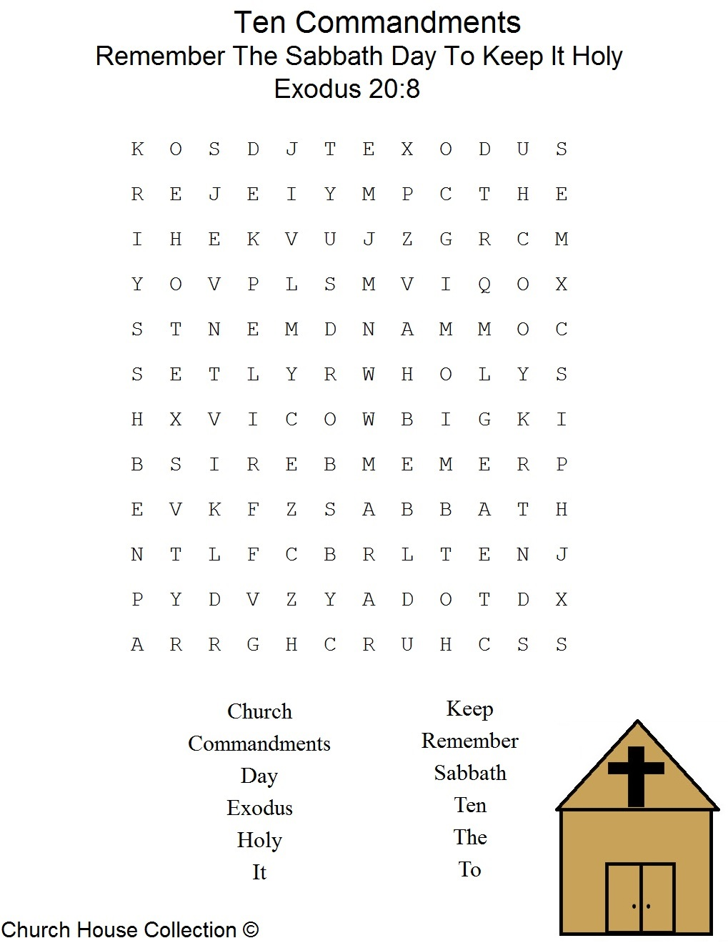 ... Sabbath Day To Keep It Holy Word Find Puzzle For The Ten Commandments