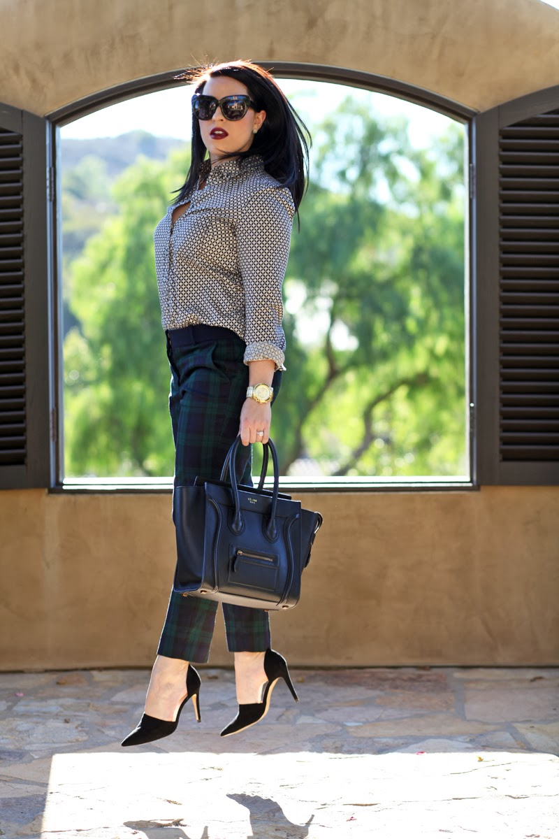 loft-plaid-trousers-gap-patterned-button-up-san-diego-style-blogger-king-and-kind-house-of-harlow-rachel-zoe-dorsay-pump-celine-handbag