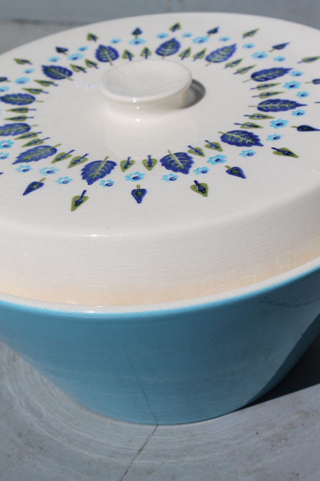 vintage swiss alpine bowl with lid in blue