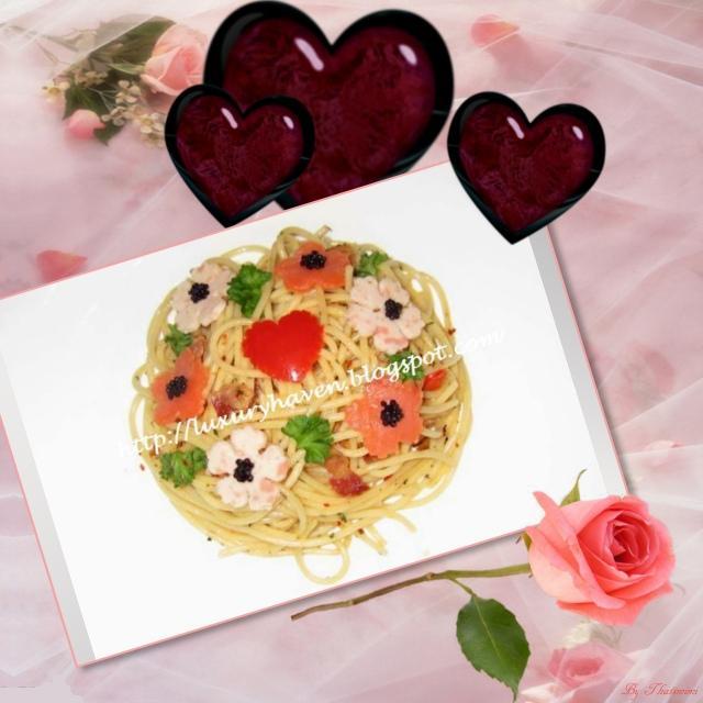 valentines day flower garden caviar aglio olio recipe