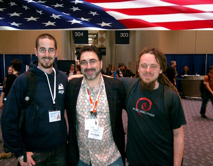 Sam Bazzi of Arcs, center, with Miguel Jacq & Antoine Beaupré