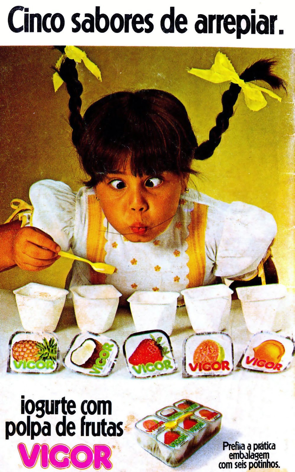 Propaganda do Iogurte Vigor em 1979 apresentando seus cinco deliciosos sabores.