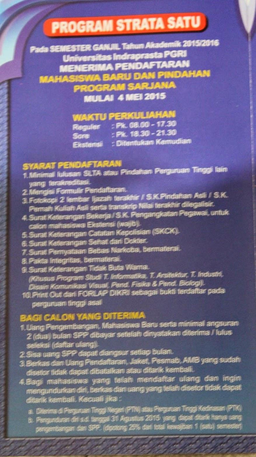 Syarat Pendaftaran Unindra 2015-2016