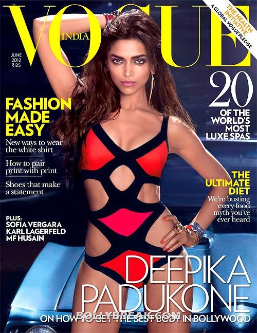 Deepika in a hot red and white black bikini - Bollywood cover girls 2012- sizzling hot babes