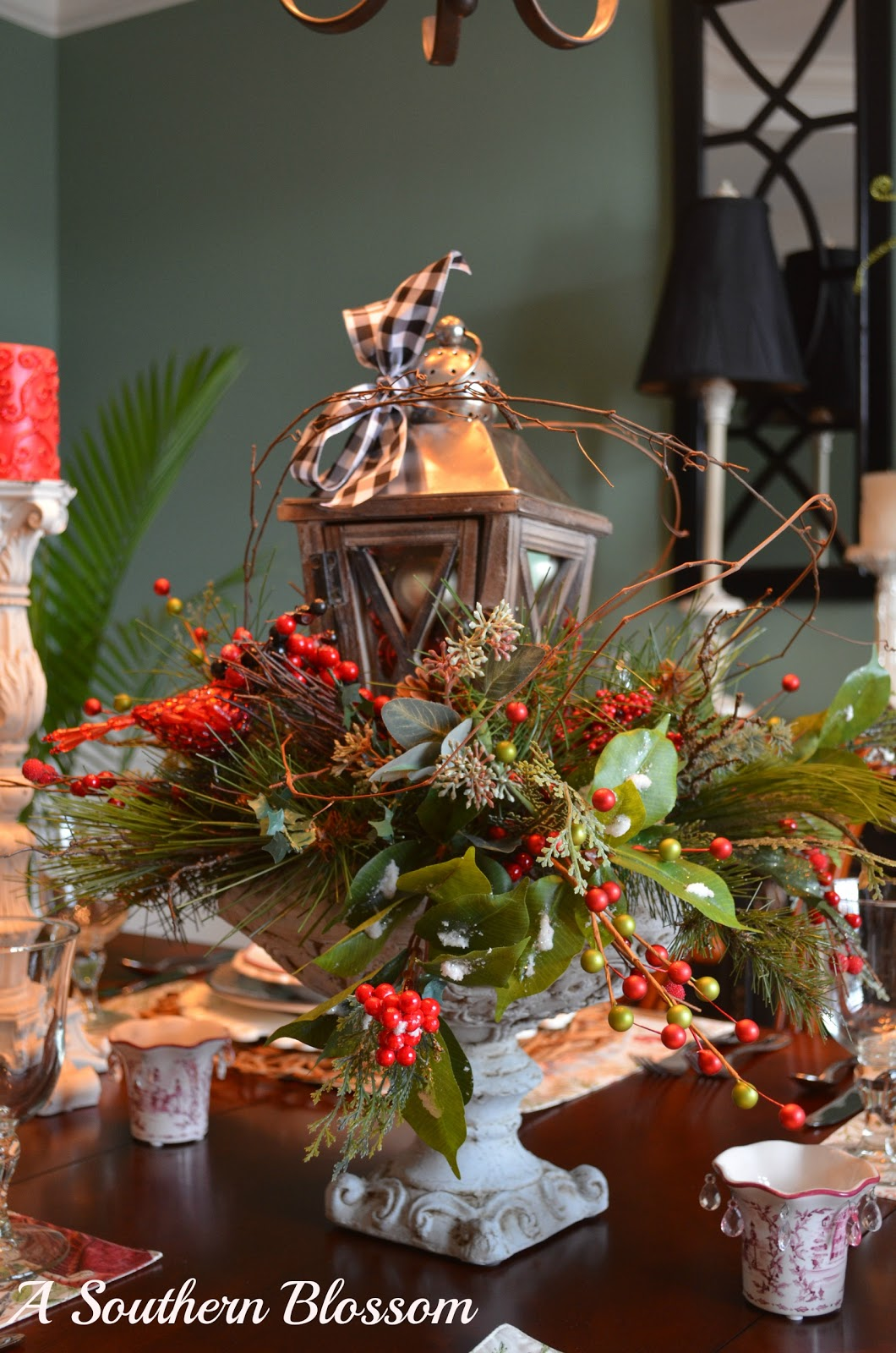 the dinning room table my idea of a woodland christmas tablescape