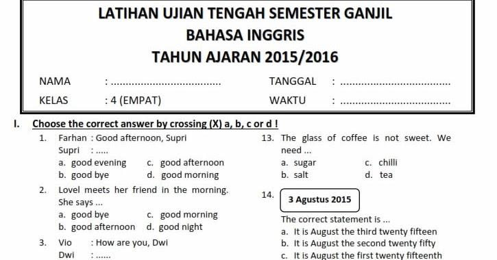 Download Soal Uts Ganjil Bahasa Inggris Kelas 4 Semester 1 2015 2016 Rief Awa Blog Download