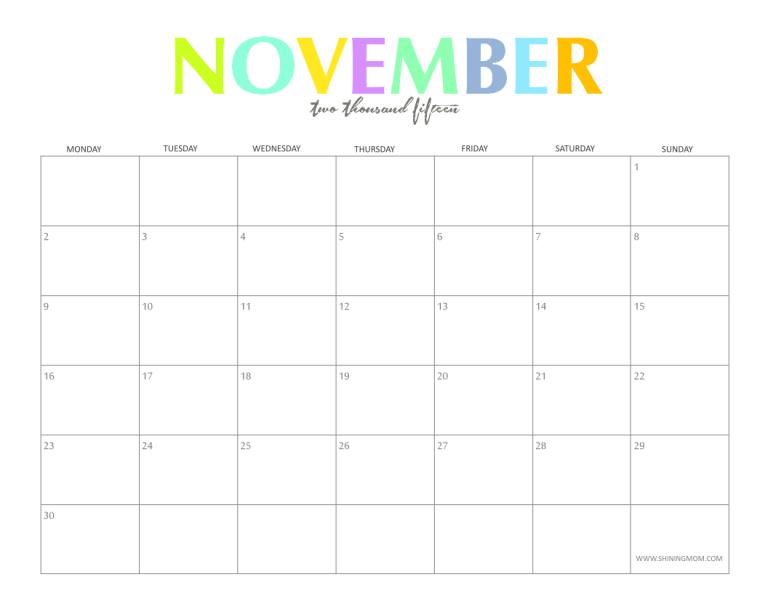 Blank November Calendar Cute : Cute  blank calendar printable search results