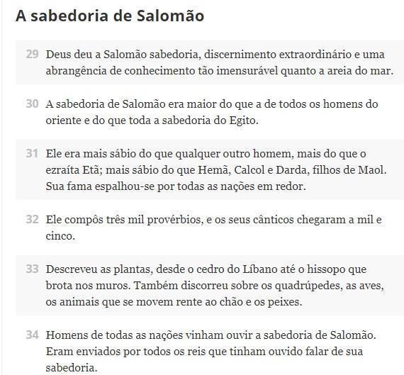 A sabedoria de Salomão.