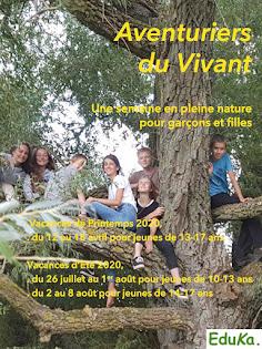 Séjours AVENTURIERS du VIVANT    printemps et été   pour ados de 10-13 et 14-17 ans