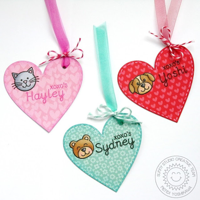 Sunny Studio Stamps Valentine's Day Heart Gift Tags (using Stitched Heart Dies, Sweet Script & Sending My Love Stamps)