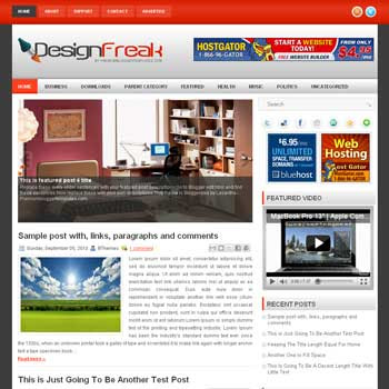 Design Freak blog template. template image slider blog. magazine blogger template style. wordpress theme to blogger
