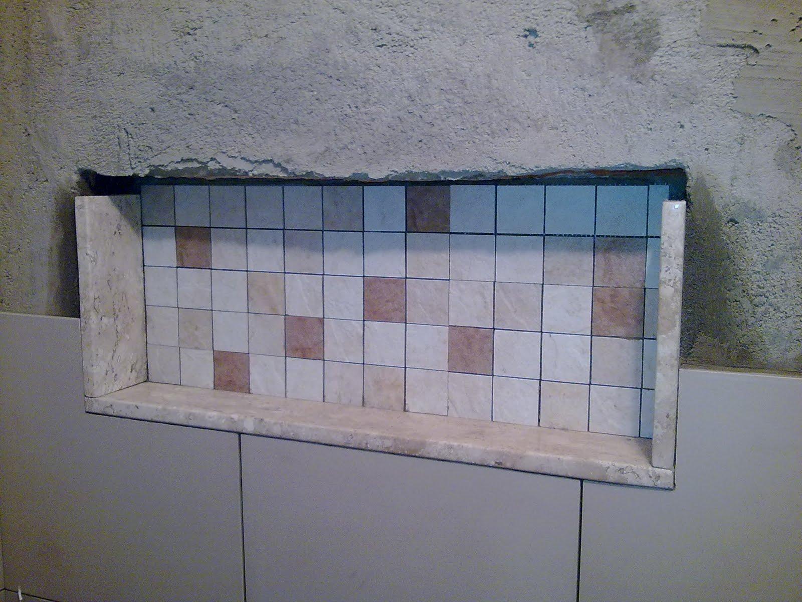 Como dar acabamento para o nicho do banheiro (pastilhas pedra  #4C6178 1600 1200