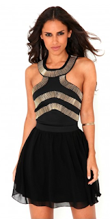 Querida Beaded Cut Out Skater Dress Wild-Society