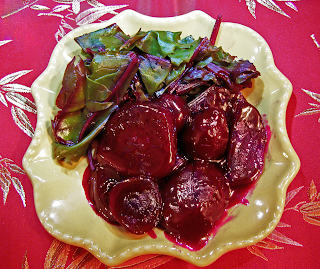 Glazed Red Beets with Greens