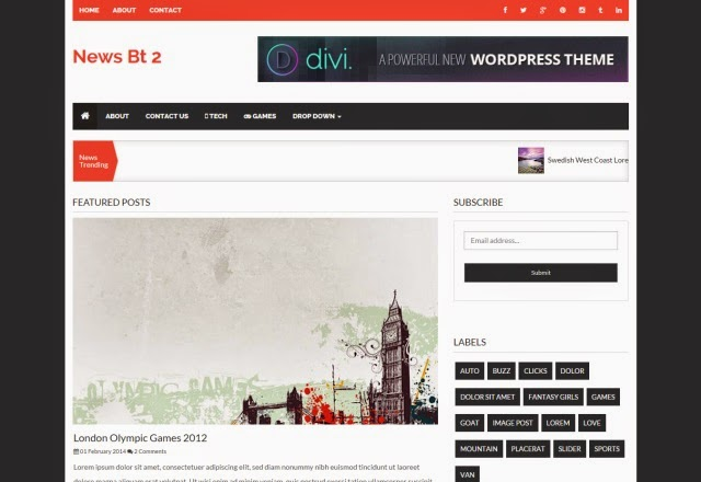 NewsBT 2 Column News Blogger Template