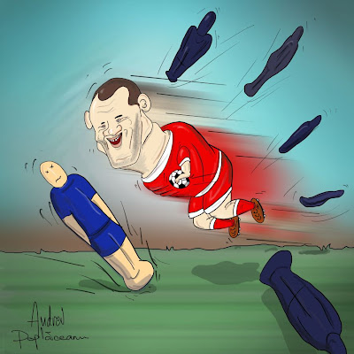 comic cartoon caricatura wayne rooney playing football trashing smashing beating defenders on the field