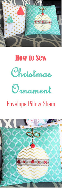 How to Sew a Christmas Ornament Envelop Pillow Sham using Free Motion Applique by A Vision to Remember