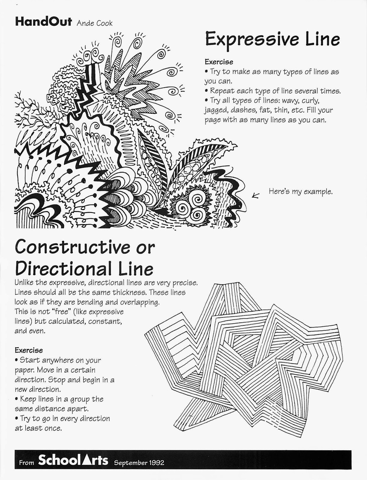 Line Art Exercises : No corner suns free expressive line handout and