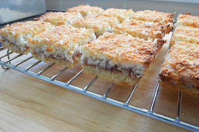 toasted coconut jam tray bake