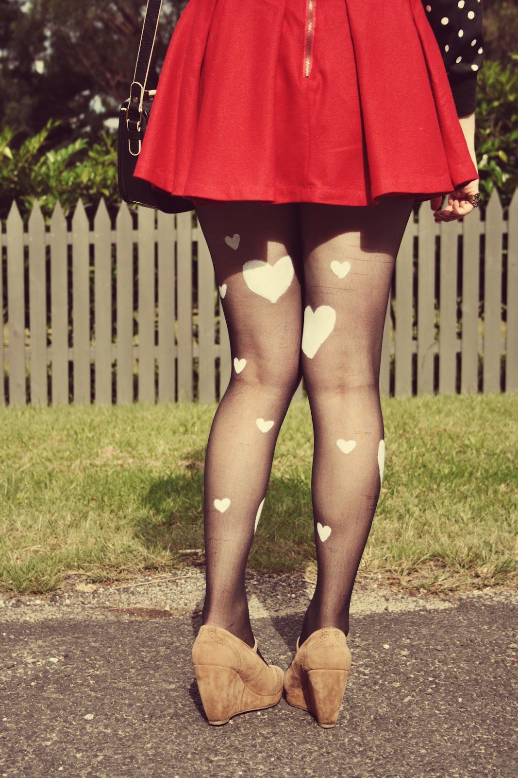 DIY heart print tights