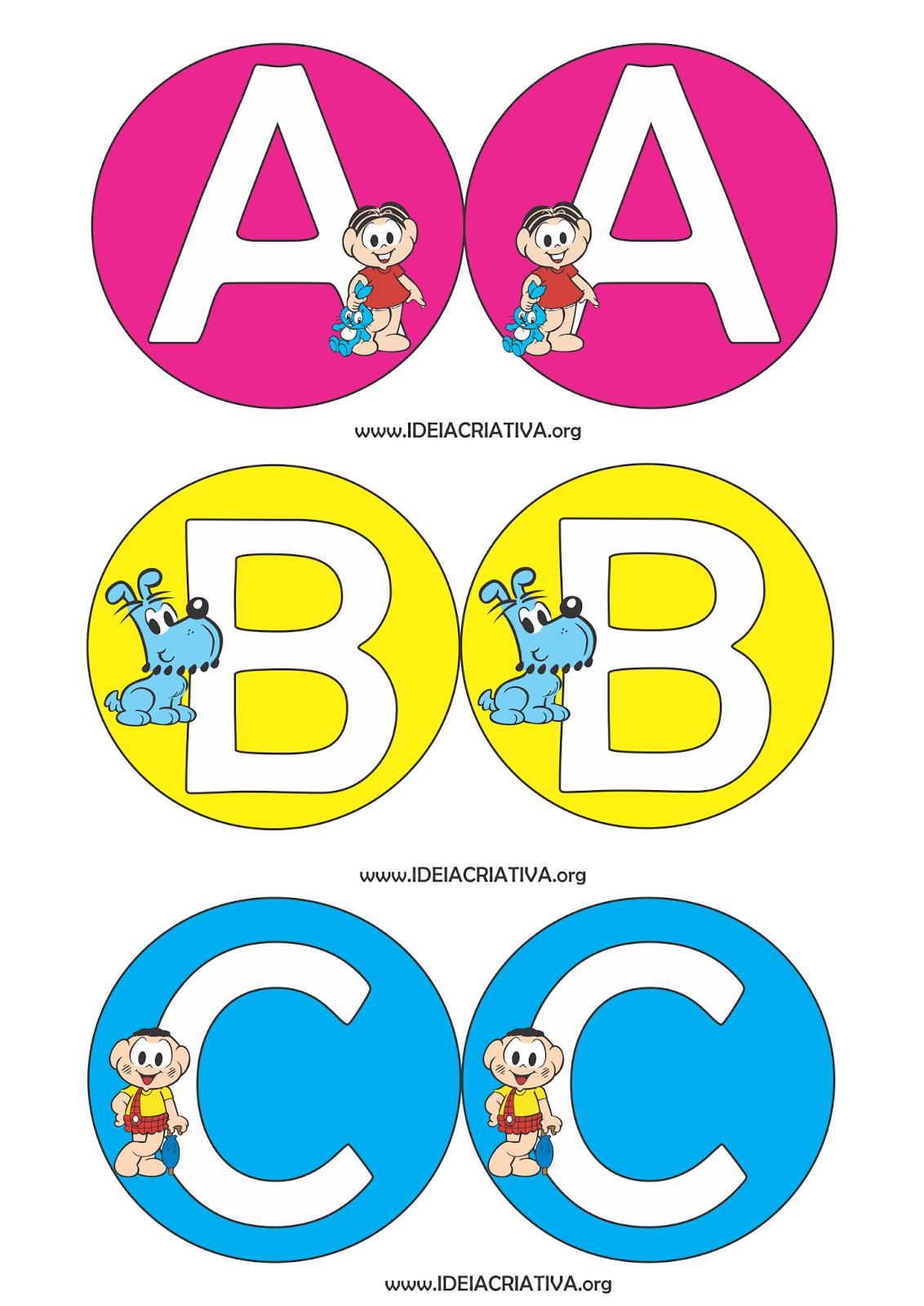 Alfabeto Turma da Mônica para Montar Cortina Alfabética