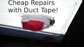 Trailer brake light repair with duct tape