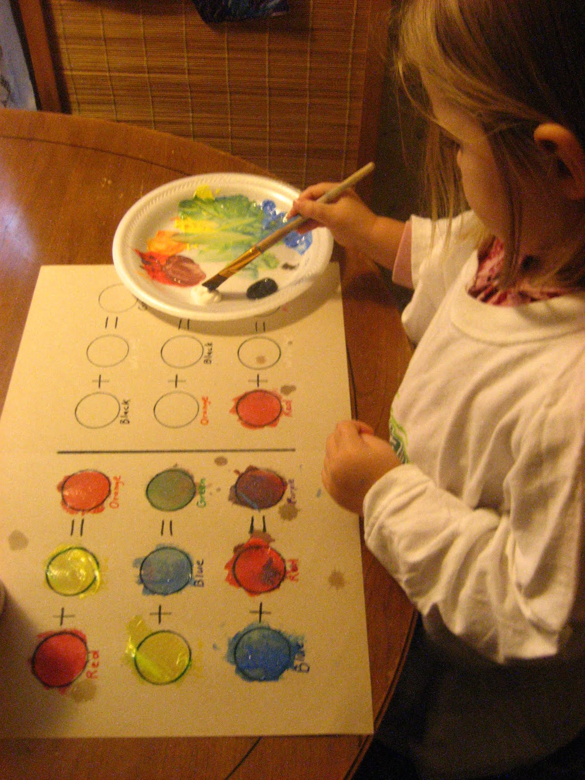 Art Lesson With Little Kids Color Mixing Chart Placemat