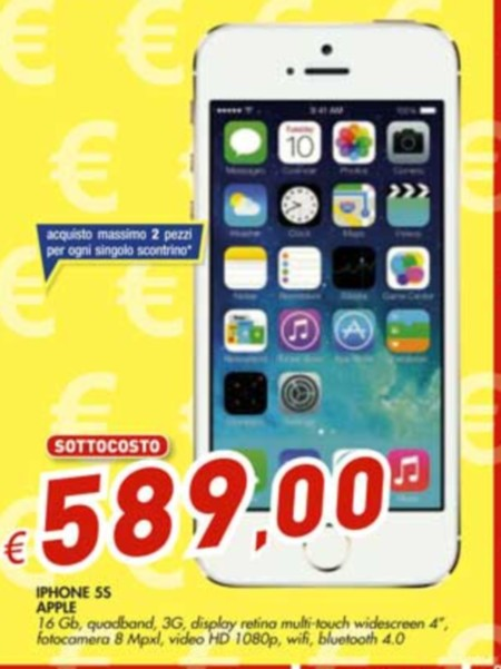 Da Bennet a prezzo sottocosto troviamo Apple iPhone 5S 16GB garanzia Italia