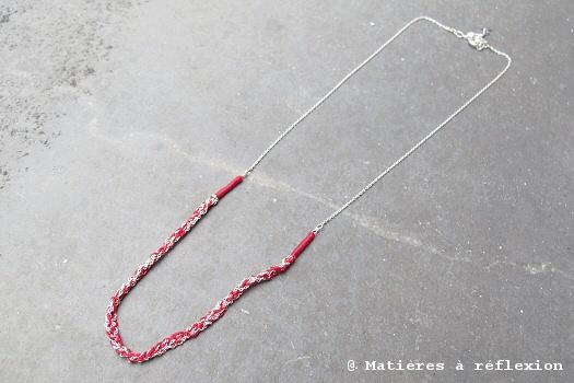 Collier crochet Sumi Kaneko rouge et argent