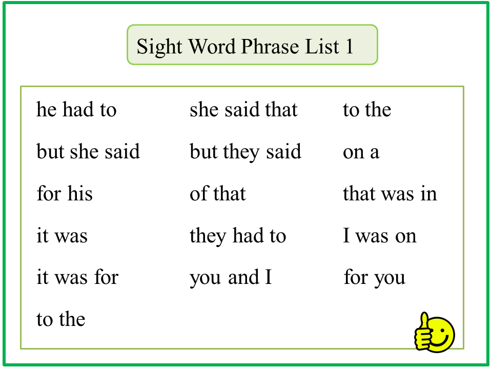 reading2success sight word phrase lists