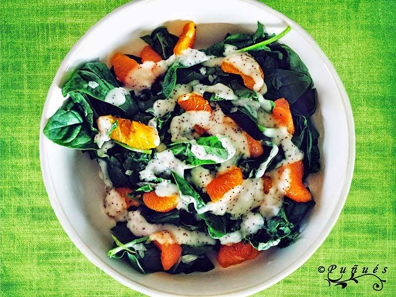 ensalada, espinacas, yogur, mandarina, receta, alimentación, sana, ensaladas