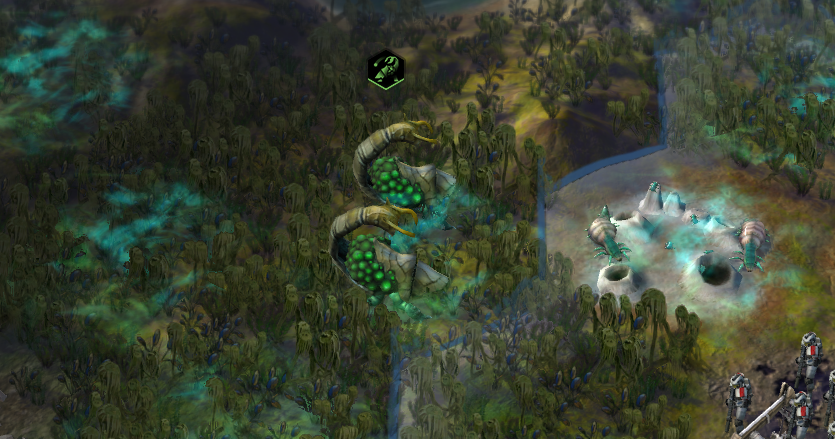 A pair of Alien Manticores sit on the border of a city, poised to attack from a distance.