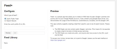 Pantalla de configuración de extensión de Google Chrome para feed RSS de Google Plus