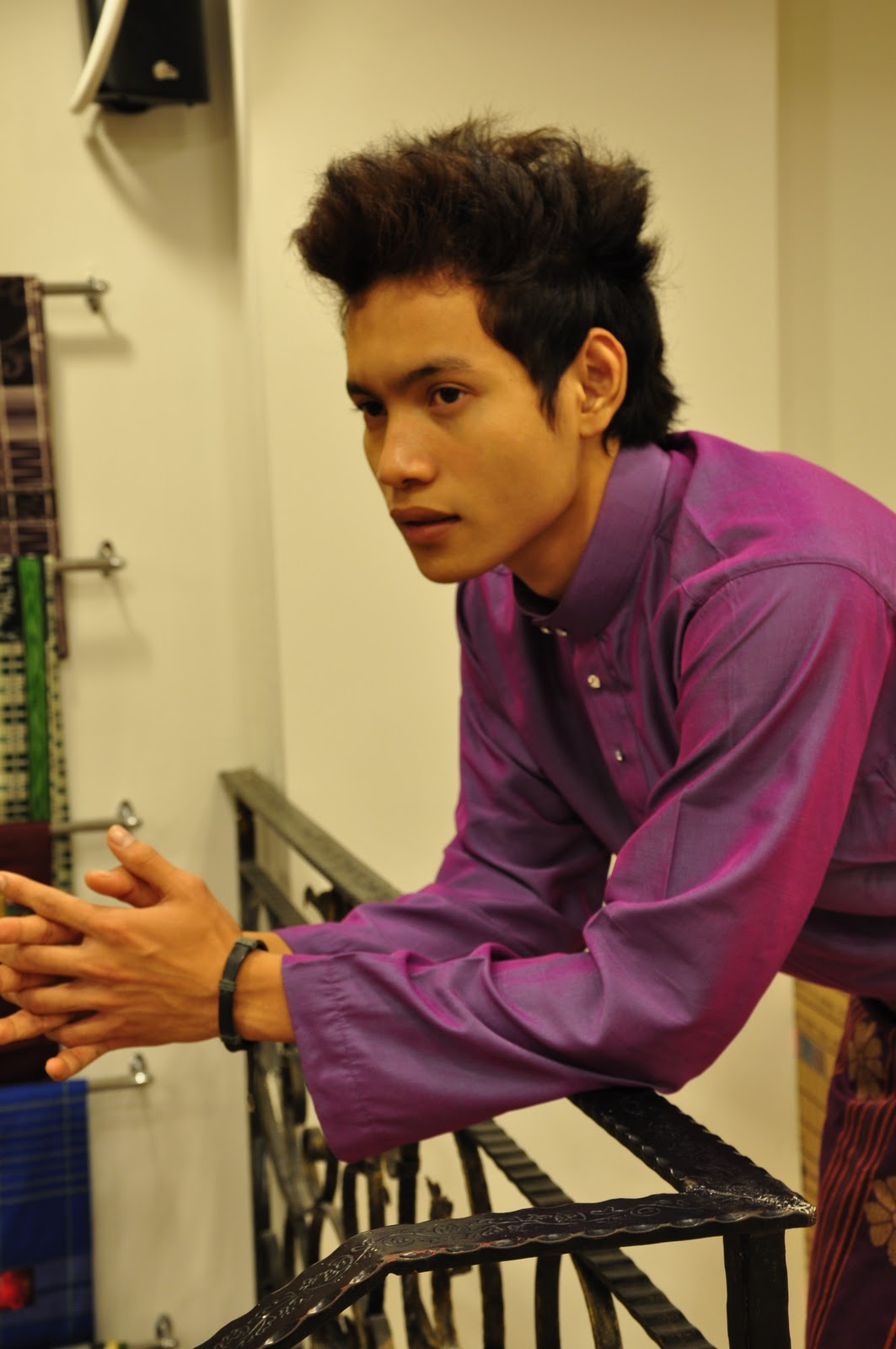 Model Using Thai Silk Baju Melayu Cekak Musang Royal Purple