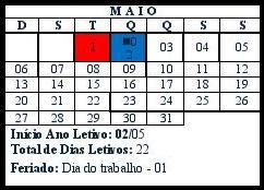 Calendário da Secretaria Municipal de Educação
