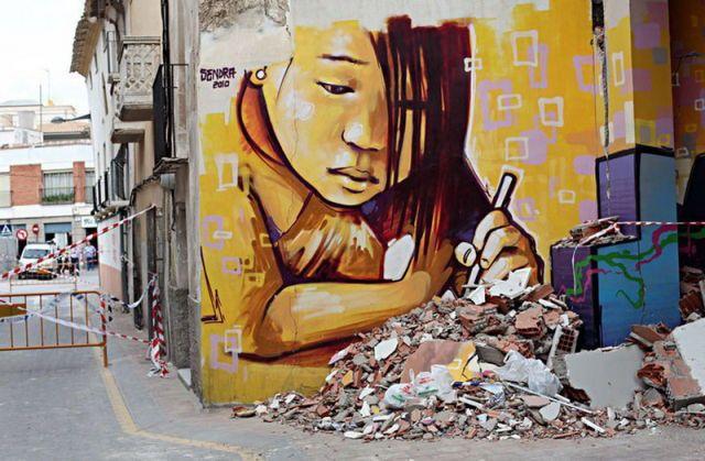 sad girl, painting, on wall, art, street art