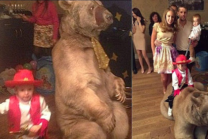 Rayakan Ulang Tahun Anak, Pesepakbola Ini Sewa Beruang Besar