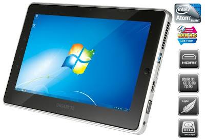 Notebook Slate Gigabyte S1081 Berbasis Atom Cedar Trail