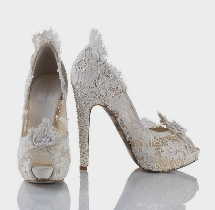 Dainty Ivory Lace Platform Bridal Wedding Shoes 2013