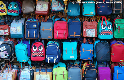 Funny bags in a Seoul shop (old town) Photo by Ben Heine