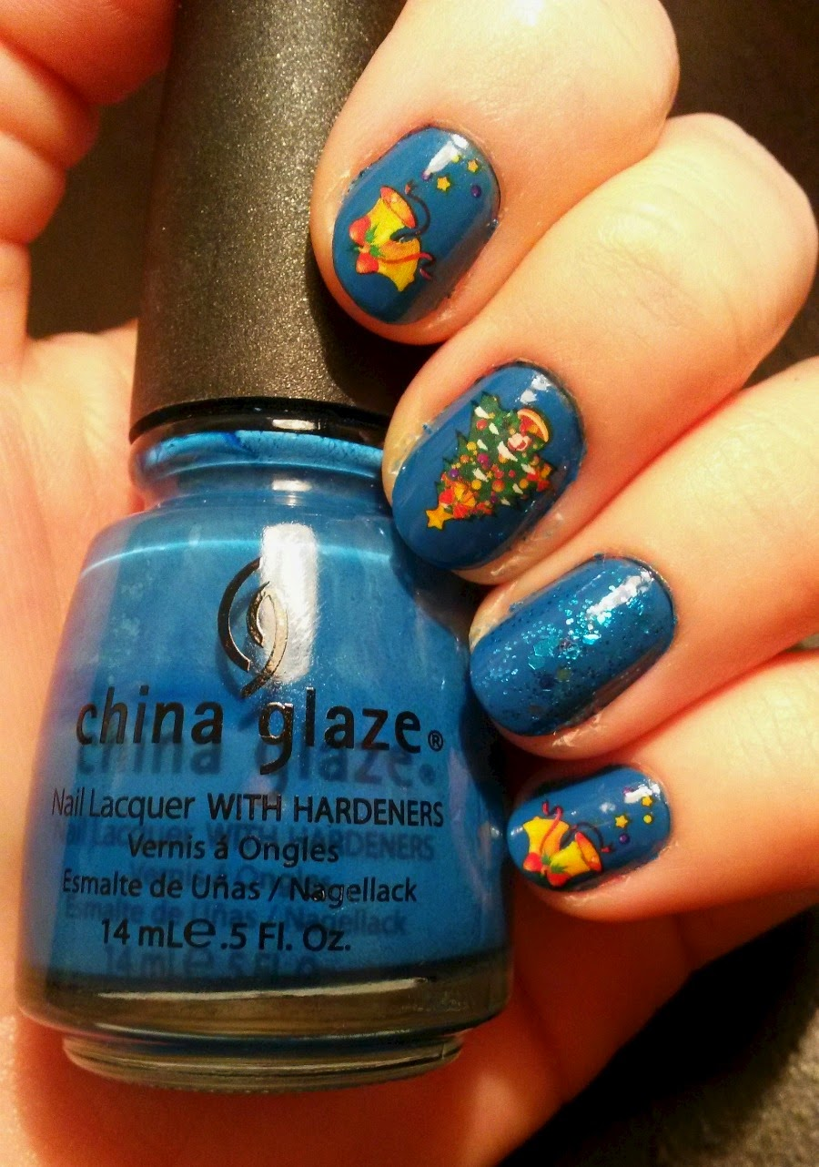 for these blue christmas nails i used nail tattoos and some glitter polish for an accent nail - Blue Christmas Nails