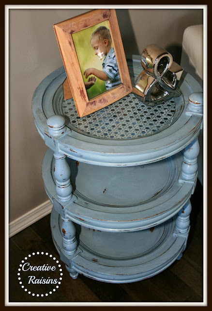 blue side table makeover