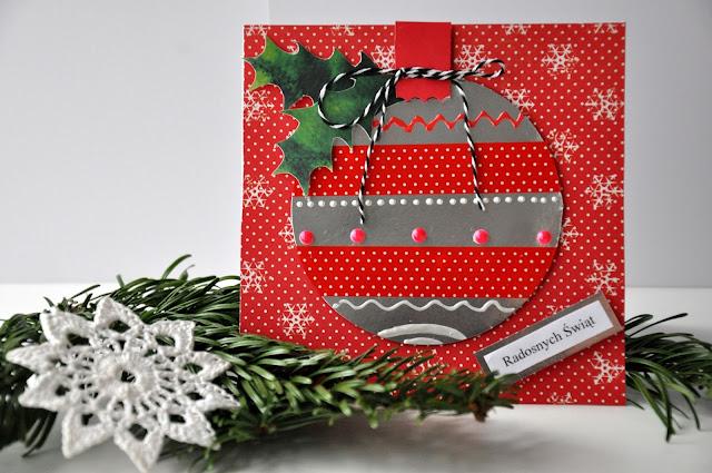 Kartki świąteczne – motyw bombki