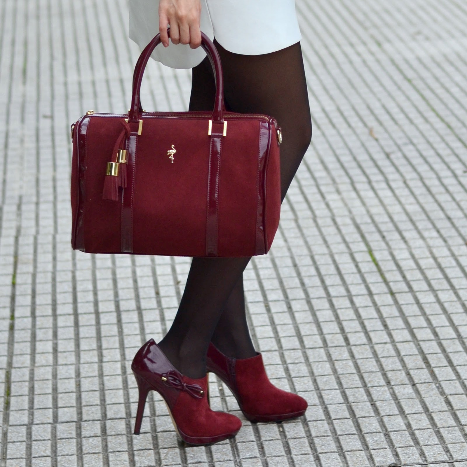 booties, burgundy, bag, menbur, heels